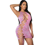 Fashion sexy texture bandage hollow dress MN9297