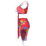 Sexy fashion tie-dye hollow tie two-piece suit MN9293