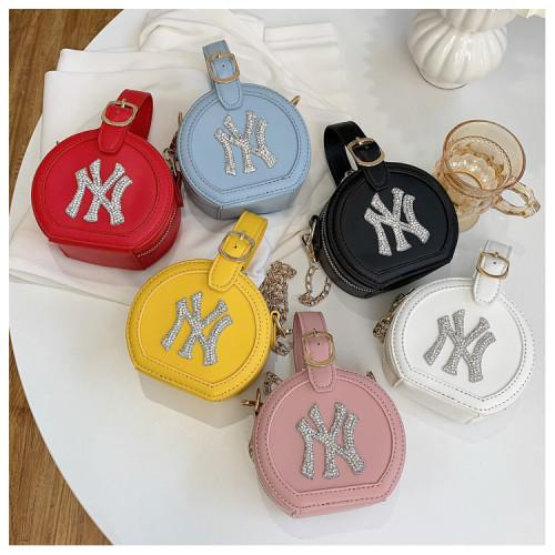 Korean fashion trendy bright diamond semicircle small bag female personality single shoulder messenger chain handbag HJ-1816