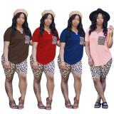 Pure color leopard print two-piece leisure sports suit ABL6656
