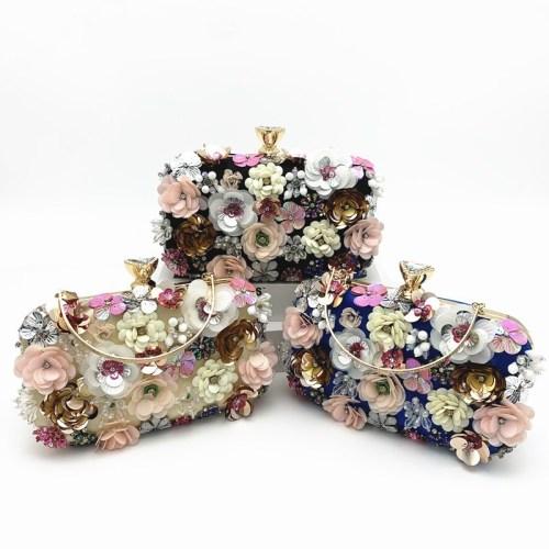 New fashion dinner bag ladies color flower beaded bag banquet wedding party bag CJ640026545488