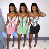 Fashion casual sleeveless sling US dollar printed skirt suit JP1032