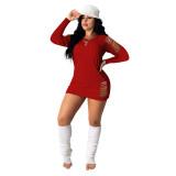 Casual Fashion Home Burning Flower Dress Pure Color Skirt Short Skirt DD8096