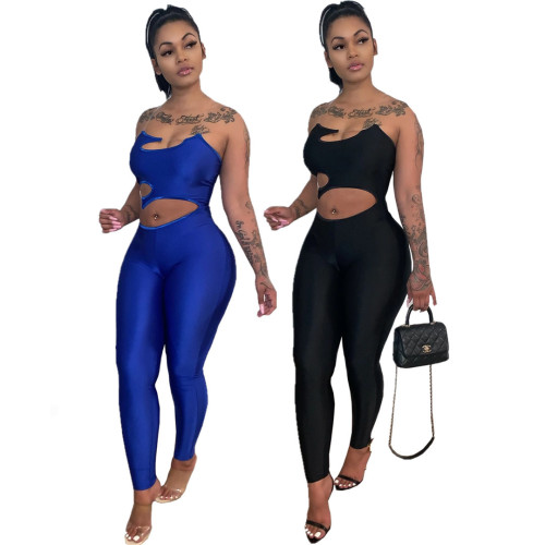 Jumpsuit solid color pants suit blue suspenders sleeveless milk silk goddess temperament commuter trousers QY5050