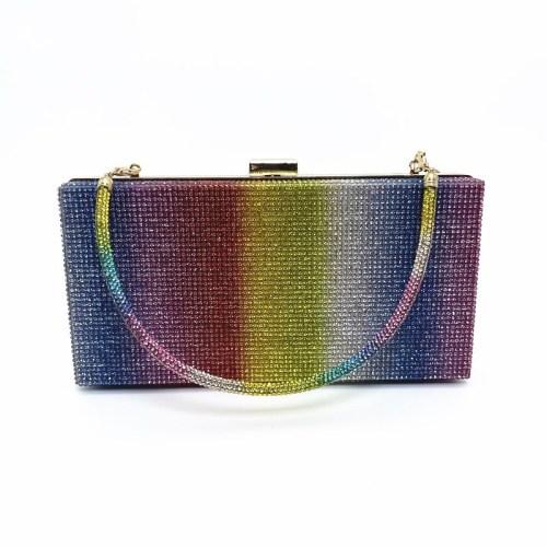 New Hot Rhinestone Rainbow Bag Ladies Dinner Bag Clutch Color Rhinestone Bag CJ641238788762