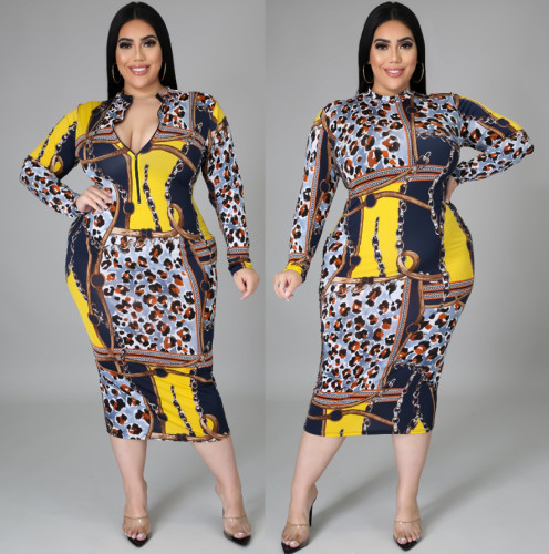 Fat lady Womens dress, two ways to wear printed dress before and after SJ5280