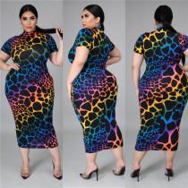 Womens printed short-sleeved dress fat lady dress fat lady dress SJ5281