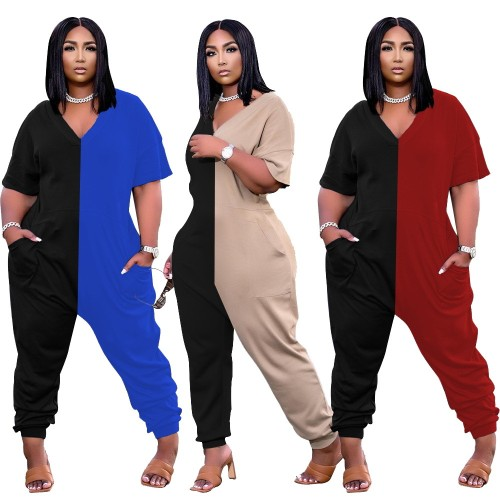 Fashion trend stitching color casual loose jumpsuit plus size Womens clothing W2314