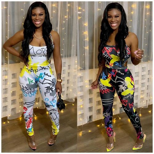 Womens fashion graffiti print street sexy strappy jumpsuit W2320
