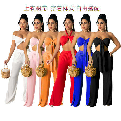 Womens casual solid color wide-leg pants + streamer tube top suit TRS1123