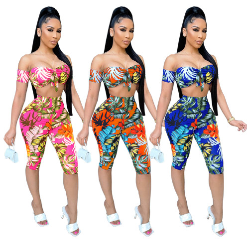 Womens casual printed sleeveless tube top cropped trousers suit TRS1127