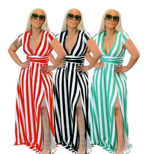 Fashion casual colorful striped waist dress YM176