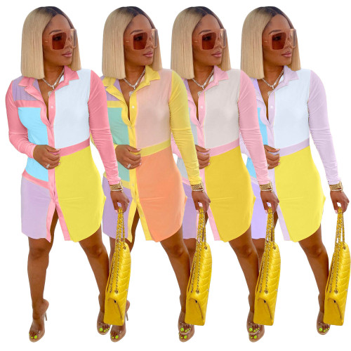 POLO collar positioning print shirt dress S6280