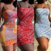 Womens clothing cashew flower element print suspender slim dress HR8169