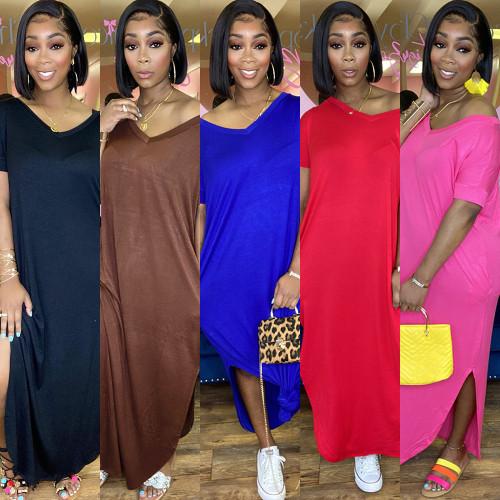 Womens Fashion Solid Color Double Pockets V-neck Slit Loose Dress HR8168