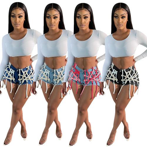 Womens eyelet straps wear washed denim shorts Q1117