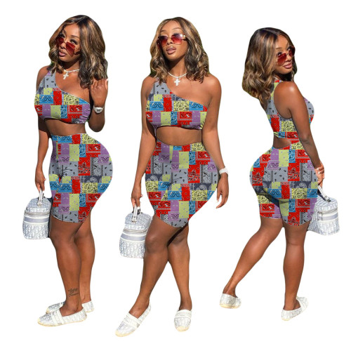 Slant Shoulder Sexy Printed Butt-up Shorts Jumpsuit Fashion Women YY6003
