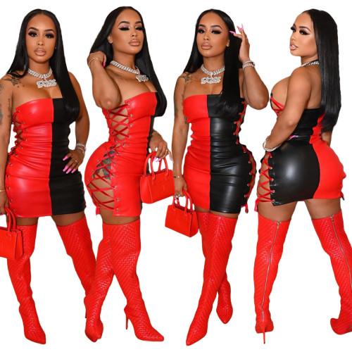 Womens sexy fashion nightclub skirt corn eyelet tie stitching PU dress tube top short skirt LML216