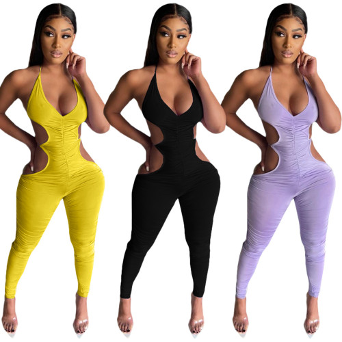 Womens clothing, suspenders, folds, open back, sexy trousers, jumpsuits LML220