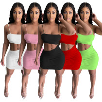 Womens sexy pleated split dress with thin straps, pure color elastic halter nightclub skirt YF8208