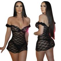 Sexy one-neck lace see-through dress retro sexy nightclub skirt MY9875