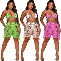Sexy Womens Digital Printed Swimsuit Mesh Two-Piece Set (Include Panties) ORY5188