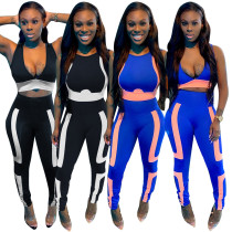 Womens clothing printed sexy front and back wear casual sports two-piece suit AT5120