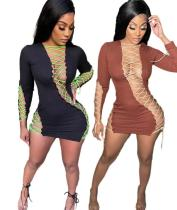 Womens new lace-up solid color irregular lace-up embroidered sexy dress SSD2102105
