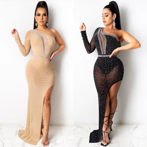 Dress mesh see-through irregular long skirt X5028