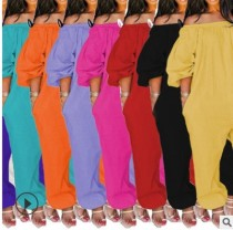 Long-sleeved trousers solid color jumpsuit YMZE3971