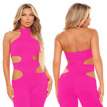 Pure color fashion sexy tailored jumpsuit z9102