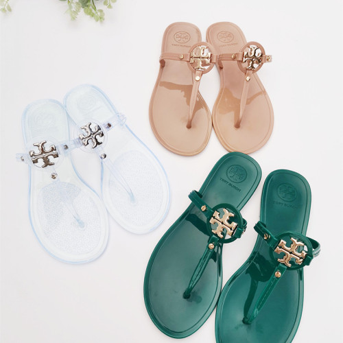 PVC jelly sandals and slippers flat flip-flops with metal buckle beach slippers for outer wear QBD619191616728