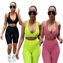 Pineapple cloth exercise yoga super elastic back cross two-piece suit MH2069