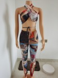 2021 summer new style sleeveless strap sexy hollow positioning printing suit FF1089