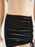 Women's nightclub halter short skirt two-piece hollow suspender vest FFD1095