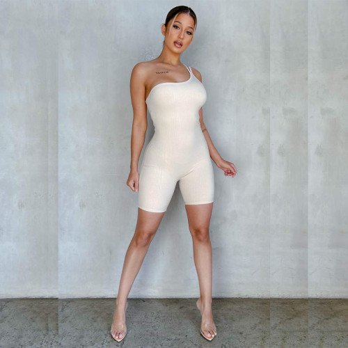 Women's sexy one-shoulder strap pit strip tight-fitting jumpsuit FFT1090