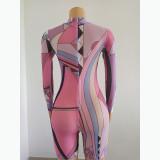 Women's zipper high neck abstract print summer short-sleeved graffiti print jumpsuit FFD1109