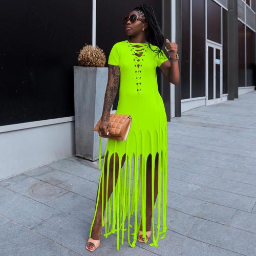 Womens sexy fashion dress with eyelet drawstring hanging silk SZ8057
