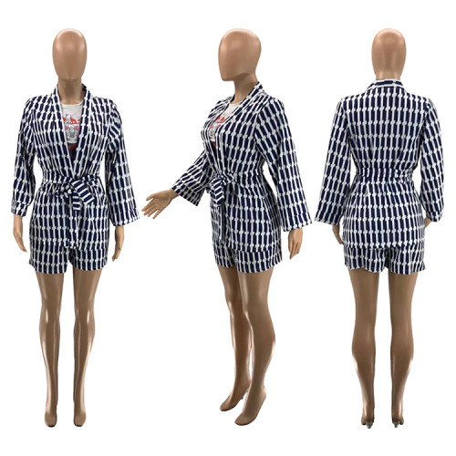 Digital printing long-sleeved cardigan with bow tie belt temperament commuter 2-piece set SZ9008