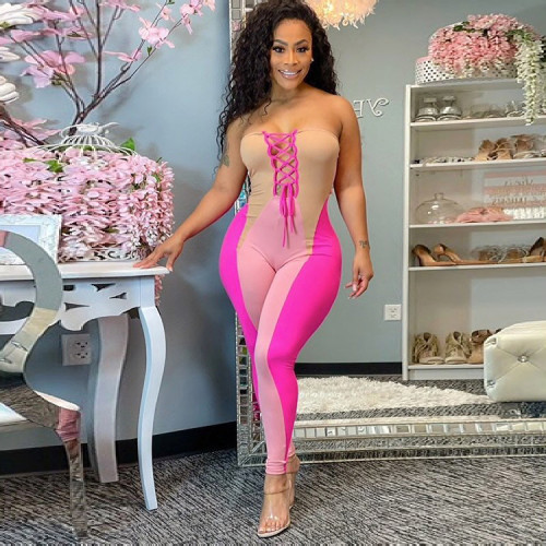 Digital Positioning Printed Wrapped Chest Drawstring Sexy Jumpsuit SZ9054