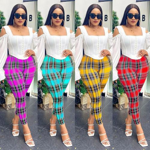 Printed plaid sexy all-match temperament commuter casual pants women SZ9050