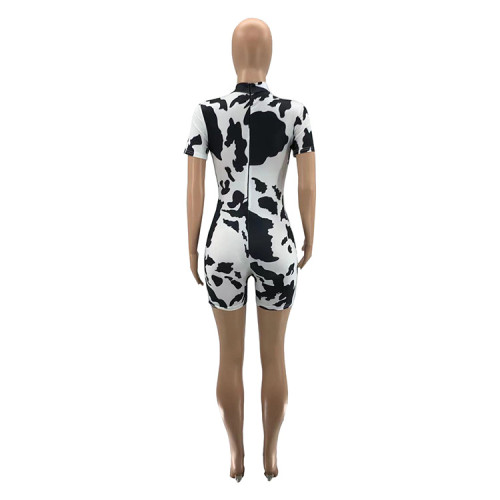 Womens sexy jumpsuit with printed front and back zipper SZ9055