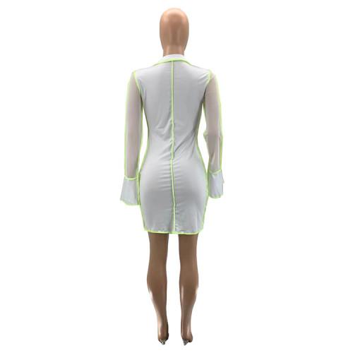 Digital positioning printing stitching mesh sexy dress women SZ9097