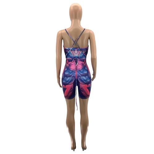 Digital positioning printing V-neck halter sexy jumpsuit women SZ9099