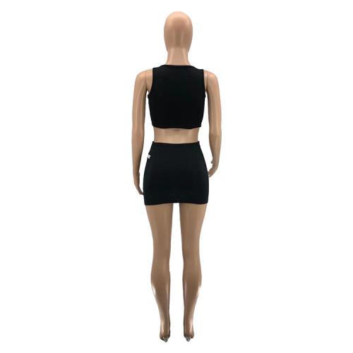Sleeveless top and bottom zipper sexy 2-piece skirt suit women SZ9090