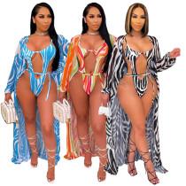 Fashion women's printed cloak swimsuit 2-piece set OL6034