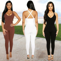 Pure color high elastic pit strip fabric casual sling jumpsuit BN172