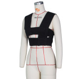 Sexy sweater vest with cross knit top Z0103