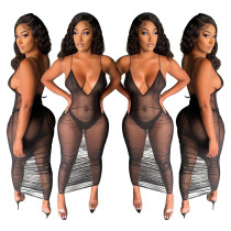 Sexy net yarn nightclub style pleated two-piece dress F8073