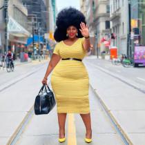 Classic stripe plus size women's dress YM190